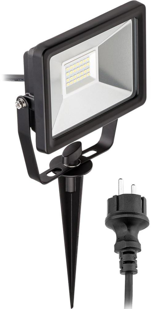 Alle nye Udendørs LED spot m. jordspyd - 240V / 20W, Sort (1,4m) AA21