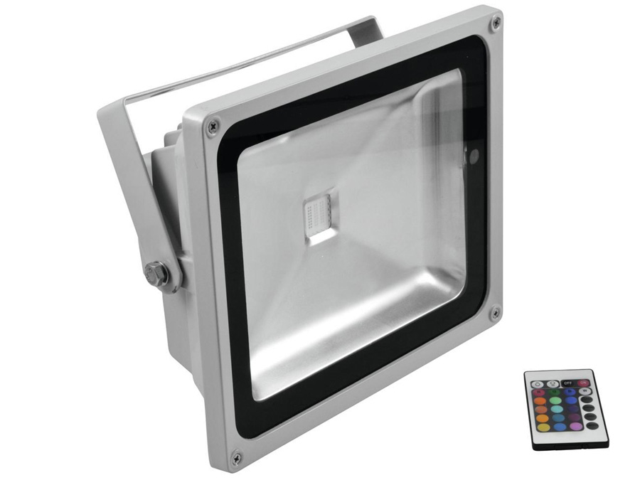 Kæmpestor Udendørs RGB LED spot - 50W, 120°, m. fjernbetj. Grå ZL95