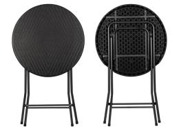 Café klapbord   høj rund, Ø80 x 110cm, sort (rattan)