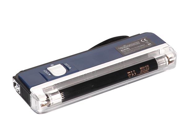 Pæn Mini UV sortlyslampe + lommelygte, blå hus HX33